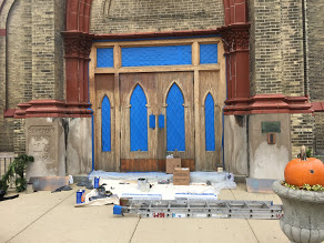 front door of church being renovated