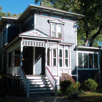 Outside of a blue house