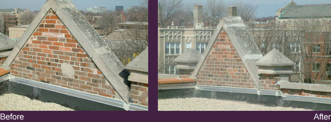 before and after of brick work on roof