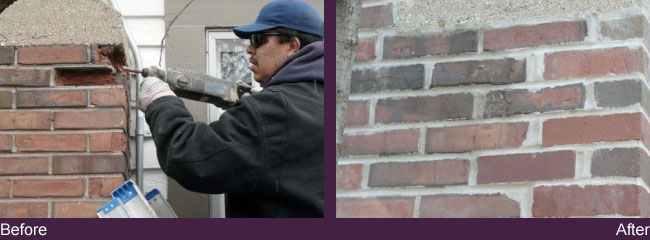 before and after with man fixing bricks