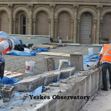 Men working on yerkes observatory roof