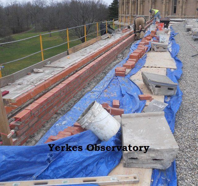 Yerkes observatory brick roof work