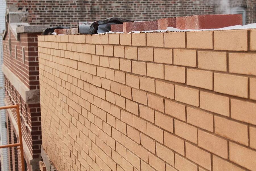 Close up view of bricks work on roof