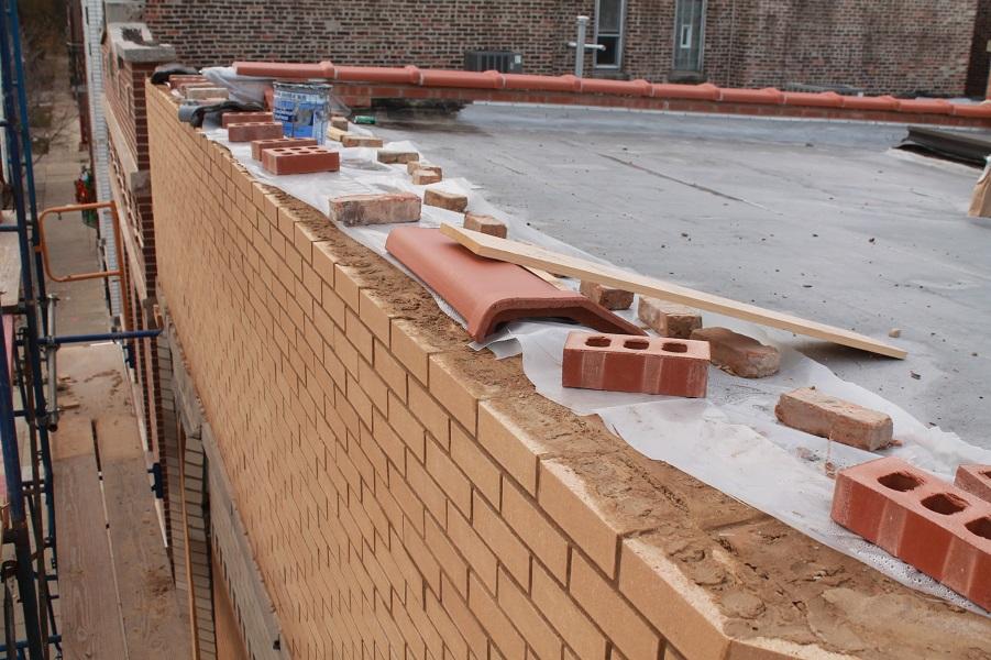 Brick wall being renovated