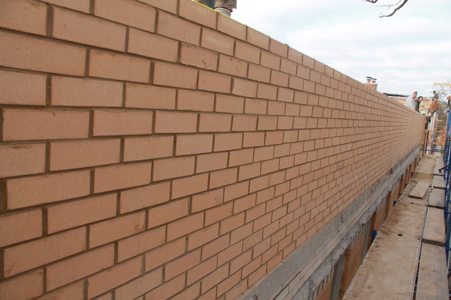 Brick wall on roof